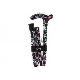 Canne Fayet pliante Noire avec fleur rose