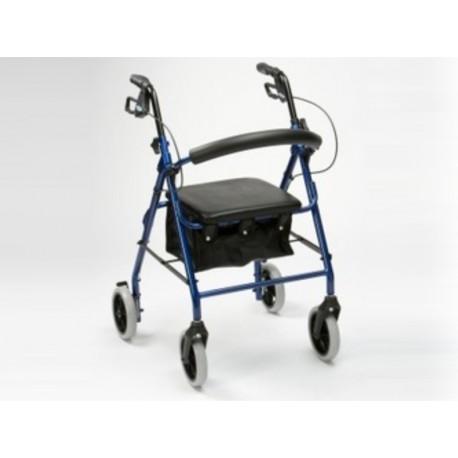 Rollator 4 roues alu bleu